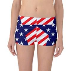 Patriotic Usa Stars Stripes Red Reversible Boyleg Bikini Bottoms