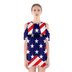Patriotic Usa Stars Stripes Red Shoulder Cutout One Piece