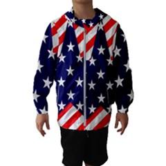 Patriotic Usa Stars Stripes Red Hooded Wind Breaker (Kids)