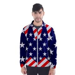 Patriotic Usa Stars Stripes Red Wind Breaker (Men)