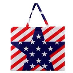Patriotic Usa Stars Stripes Red Zipper Large Tote Bag