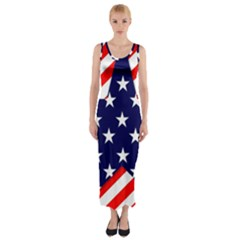 Patriotic Usa Stars Stripes Red Fitted Maxi Dress