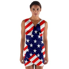 Patriotic Usa Stars Stripes Red Wrap Front Bodycon Dress by Celenk