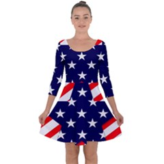 Patriotic Usa Stars Stripes Red Quarter Sleeve Skater Dress
