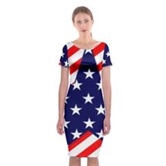 Patriotic Usa Stars Stripes Red Classic Short Sleeve Midi Dress