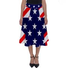 Patriotic Usa Stars Stripes Red Perfect Length Midi Skirt