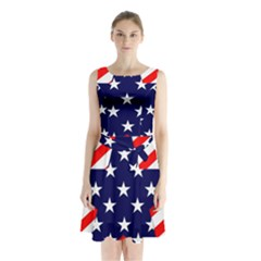 Patriotic Usa Stars Stripes Red Sleeveless Waist Tie Chiffon Dress by Celenk