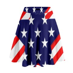 Patriotic Usa Stars Stripes Red High Waist Skirt by Celenk