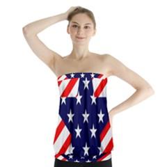 Patriotic Usa Stars Stripes Red Strapless Top