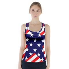 Patriotic Usa Stars Stripes Red Racer Back Sports Top