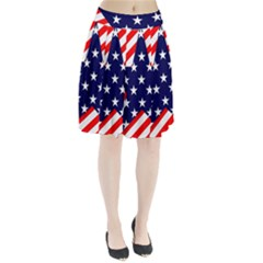 Patriotic Usa Stars Stripes Red Pleated Skirt by Celenk