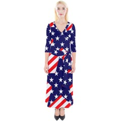 Patriotic Usa Stars Stripes Red Quarter Sleeve Wrap Maxi Dress by Celenk