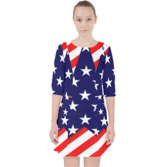 Patriotic Usa Stars Stripes Red Pocket Dress by Celenk