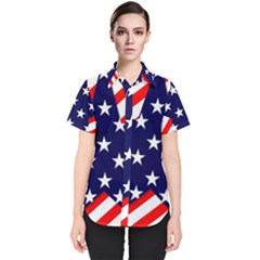 Patriotic Usa Stars Stripes Red Women s Short Sleeve Shirt by Celenk