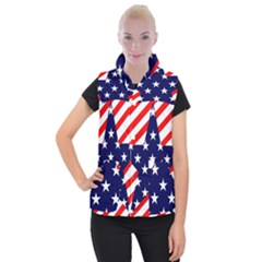 Patriotic Usa Stars Stripes Red Women s Button Up Puffer Vest