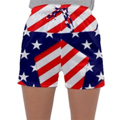 Patriotic Usa Stars Stripes Red Sleepwear Shorts by Celenk