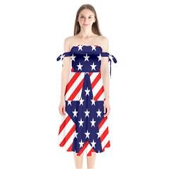 Patriotic Usa Stars Stripes Red Shoulder Tie Bardot Midi Dress