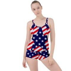 Patriotic Usa Stars Stripes Red Boyleg Tankini Set