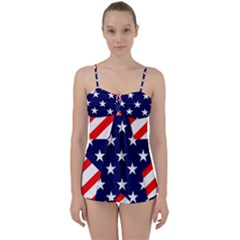 Patriotic Usa Stars Stripes Red Babydoll Tankini Set