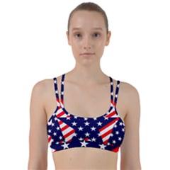 Patriotic Usa Stars Stripes Red Line Them Up Sports Bra