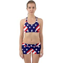 Patriotic Usa Stars Stripes Red Back Web Sports Bra Set
