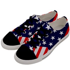 Patriotic Usa Stars Stripes Red Men s Low Top Canvas Sneakers by Celenk