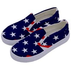 Patriotic Usa Stars Stripes Red Kids  Canvas Slip Ons
