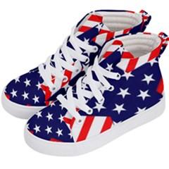 Patriotic Usa Stars Stripes Red Kid s Hi-Top Skate Sneakers