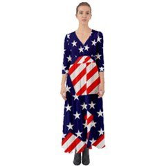Patriotic Usa Stars Stripes Red Button Up Boho Maxi Dress by Celenk