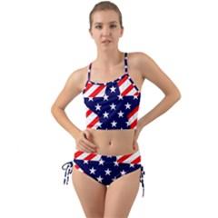 Patriotic Usa Stars Stripes Red Mini Tank Bikini Set