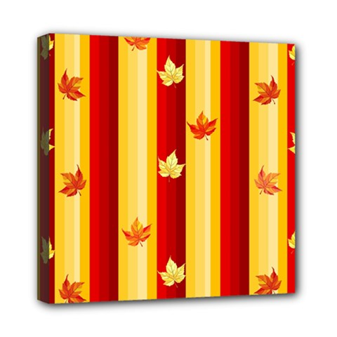 Autumn Fall Leaves Vertical Mini Canvas 8  X 8  by Celenk
