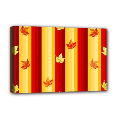 Autumn Fall Leaves Vertical Deluxe Canvas 18  X 12   by Celenk