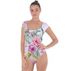 Flowers And Leaves In Soft Purple Colors Short Sleeve Leotard  by FantasyWorld7