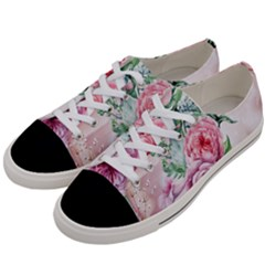 Flowers And Leaves In Soft Purple Colors Women s Low Top Canvas Sneakers by FantasyWorld7