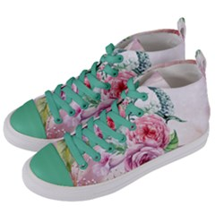 Flowers And Leaves In Soft Purple Colors Women s Mid Top Canvas Sneakers by FantasyWorld7
