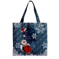 Funny Santa Claus With Snowman Grocery Tote Bag by FantasyWorld7