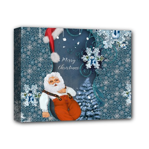 Funny Santa Claus With Snowman Deluxe Canvas 14  X 11  by FantasyWorld7