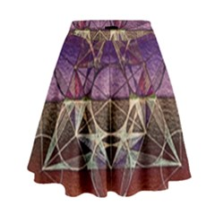 Cube Of Metatrone Diamond High Waist Skirt by Cveti