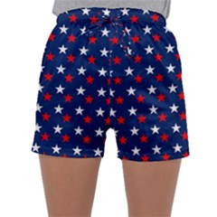 Patriotic Red White Blue Stars Blue Background Sleepwear Shorts by Celenk