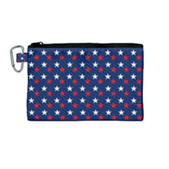 Patriotic Red White Blue Stars Blue Background Canvas Cosmetic Bag (medium) by Celenk