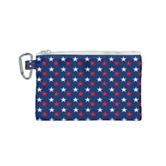 Patriotic Red White Blue Stars Blue Background Canvas Cosmetic Bag (small) by Celenk