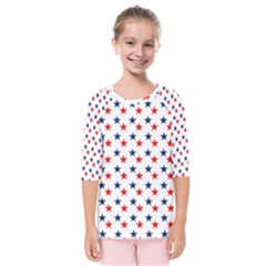 Patriotic Red White Blue Stars Usa Kids  Quarter Sleeve Raglan Tee