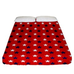 Patriotic Red White Blue Usa Fitted Sheet (california King Size) by Celenk