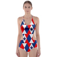 Patriotic Red White Blue 3d Stars Cut Out One Piece Swimsuit