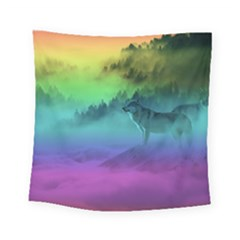 Yellowstone Wolfs Sunset Square Tapestry (small) by PodArtist