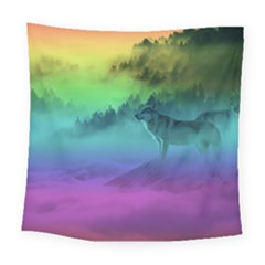 Yellowstone Wolfs Sunset Square Tapestry (large) by PodArtist