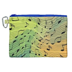 Music Notes Canvas Cosmetic Bag (xl) by linceazul