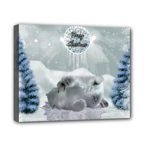 Cute Polar Bear Baby, Merry Christmas Canvas 10  X 8  by FantasyWorld7