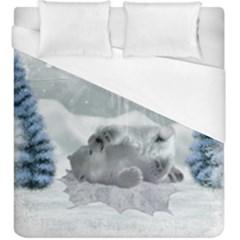 Cute Polar Bear Baby, Merry Christmas Duvet Cover (king Size) by FantasyWorld7