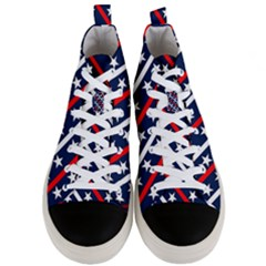 Patriotic Red White Blue Stars Men s Mid Top Canvas Sneakers